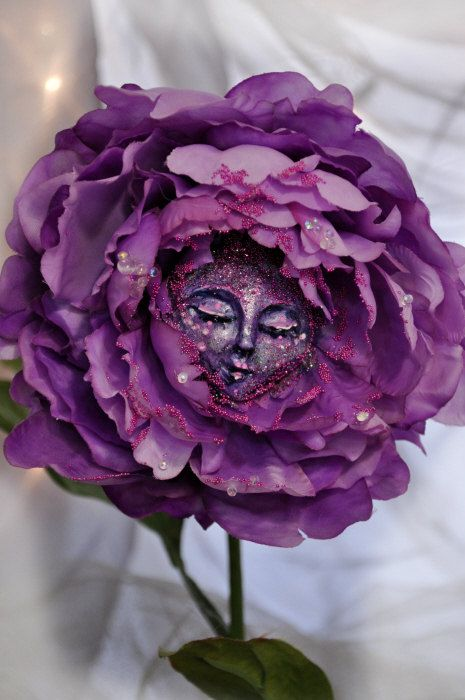 Alice in Wonderland Purple fancy Flower face by ShariDeppDesigns, $49.99