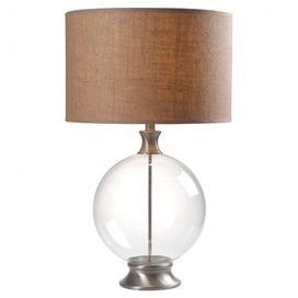 """Clear glass table lamp with brushed steel-finished accents and a drum shade. $123.95  Product: Table lampConstruction Material: GlassColor: Brushed steel and clearFeatures: Will enhance your spaceAccommodates: (1) 100 Watt bulb - not includedDimensions: 29"""" H x 17"""" DiameterCleaning and Care: Dust with dry cloth"""
