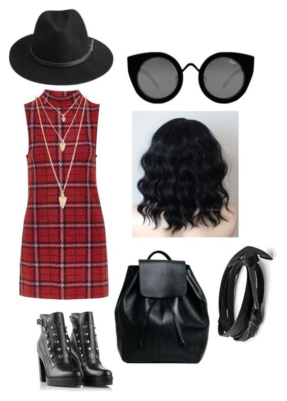 """""""Pretty in plaid"""" by chakapeti on Polyvore featuring Topshop, BeckSöndergaard, Quay, Forever 21, Diesel, women's clothing, women, female, woman and misses"""