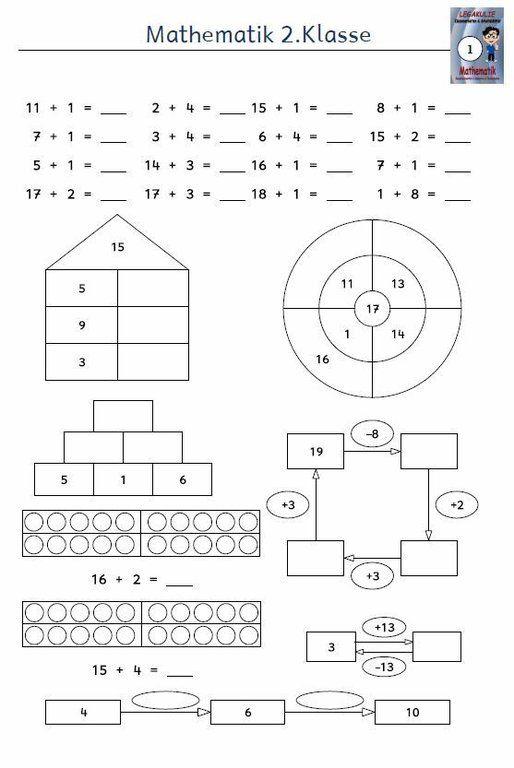 Kostenloses Arbeitsblatt 2klasse Mathematik Addition