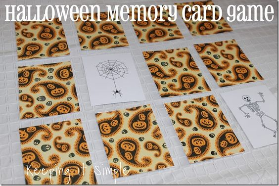 Keeping it Simple:  Halloween Memory Card Game with free printable.  Great to use for other games too, like Go Fish, Old Maid.