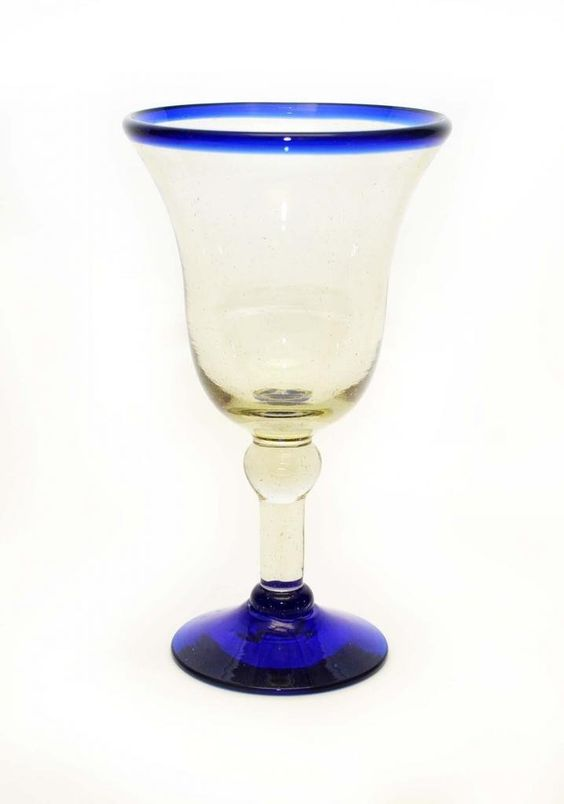 Amazon.com | SET OF 4, BLUE RIMMED WINE GOBLETS, BELL SHAPED-12 OUNCES. RECYCLED GLASS.: Wine Glasses