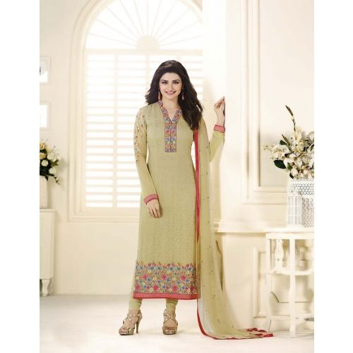 Honeydews Beautiful Designer Georgette Beige Color Semi Stitched Straight Suit