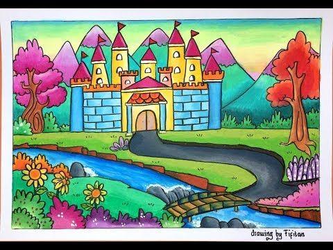 Cara Menggambar Istana Dengan Pemandagan Indah Serta Gradasi Warna Oilpastel Greebel Youtube Seni Krayon Cara Menggambar Gambar