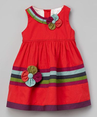 Another great find on #zulily! Red Floral Dress - Toddler & Girls #zulilyfinds