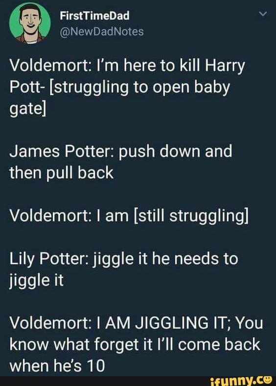 Voldemort I M Here To Kill Harry Pott Struggling To Open Baby Gate James Potter Push Down And Then Pull Back Voldemort I Am Still Struggling Lily Potter Harry Harry Potter Memes