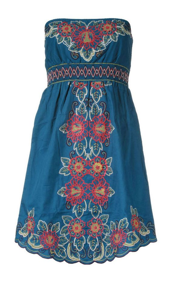 Blue embroidered dress.. totally would be cute w/ some cowboy boots
