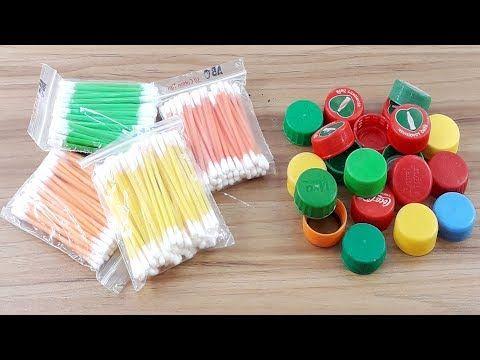 Cotton Buds Waste Plastic Bottle Caps Reuse Idea Best Craft