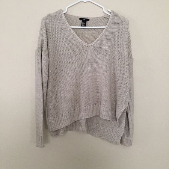 Oversized knit sweater V neck and side slits Sweaters