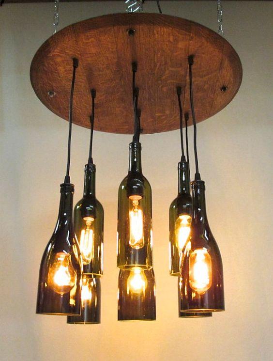 9 light wine bottle barrel top chandelier ceiling for Wine bottle light ideas