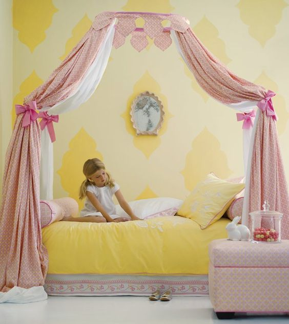 Just gorgeous girl's bedroom - love the yellow & pink