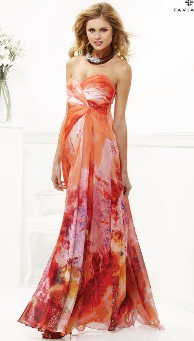 Faviana 7126 Print Chiffon Evening Dress at frenchnovelty.com