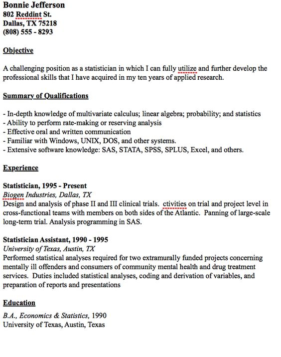 Example Statistician Resume -    resumesdesign example - plumbing resume