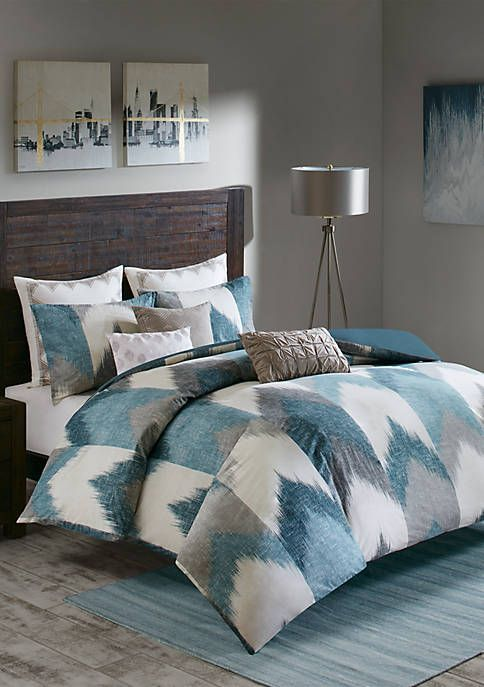 Madison Park Hayden Reversible Stripe Down Alternative Comforter Mini Set Aqua Duvet Cover Teal Bedding Feminine Bedroom