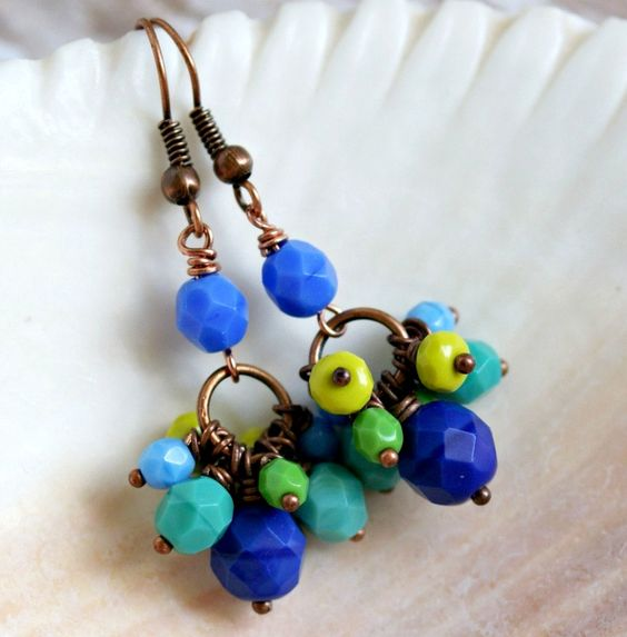 blue green jumbles copper drop earrings, pixiestrinkets