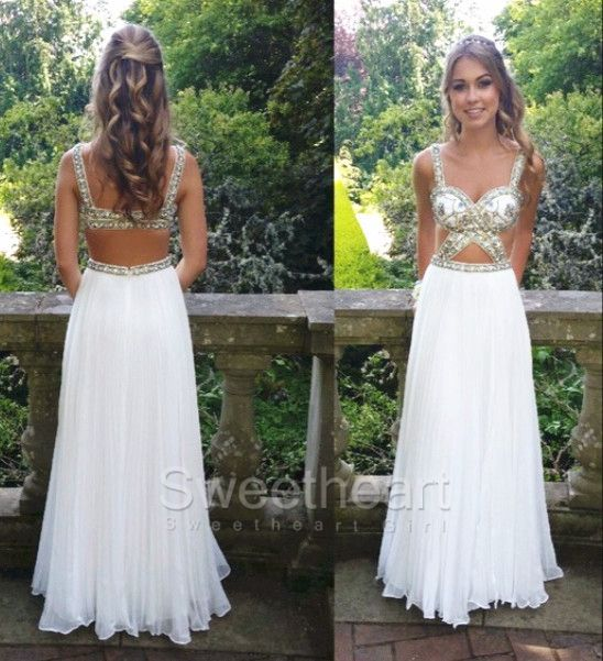 White Sweetheart Backless Chiffon Long Prom Dress,Evening Dress #prom #promdress #whiteprom #coniefox #2016prom
