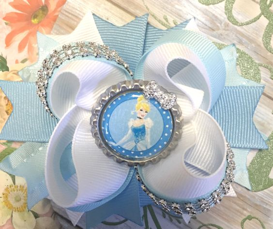 Cinderella Bow/Boutique Style Hair Bow/Girls Hair Bow/Blue White Bow/Girly Curl Bow/Disney Inspired Bow/Princess Bow/Cinderella Hair Bow by GirlyCurlBowtique on Etsy https://www.etsy.com/listing/264000208/cinderella-bowboutique-style-hair