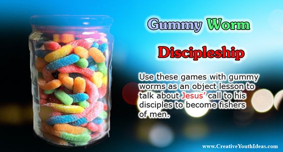 Although gummy bears were invented by German Candy maker Hans Reigel in 1922, the gummy worm is a relatively recent concept. The Gummy bear wasn't shipped to America until around 1981 and then an American candy company extended the idea to gummy worms to give kids something fun to eat and to shock their parents. Gummy worms are one of the most popular gummy candies around. Use these games with gummy worms as an object lesson to talk about Jesus' call to his disciples to become fishers of…