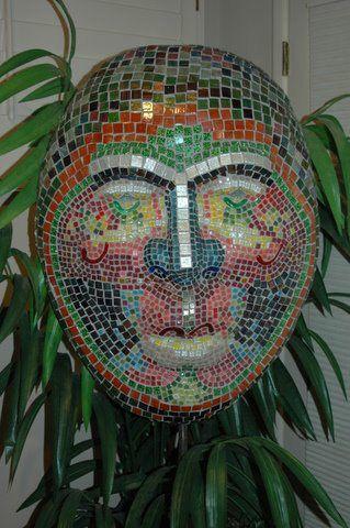 Eric Mosaic Mask, Mosaic Art by Gail Glikmann                #mosaic #mosaicart #mosaicmask