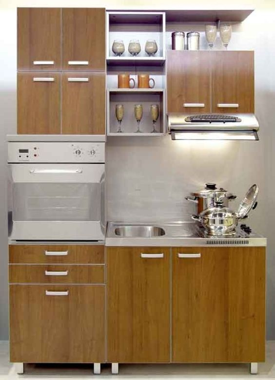 Прямая кухня уместится и в небольшо помещении