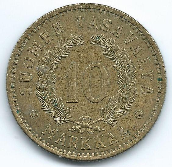 COIN MONEY Finland 1928 10 Markkaa Lion & Branches Bronze & Aluminium  https://ajunkeeshoppe.blogspot.com/   1.0PriorityP727B413009IMG2267,2268