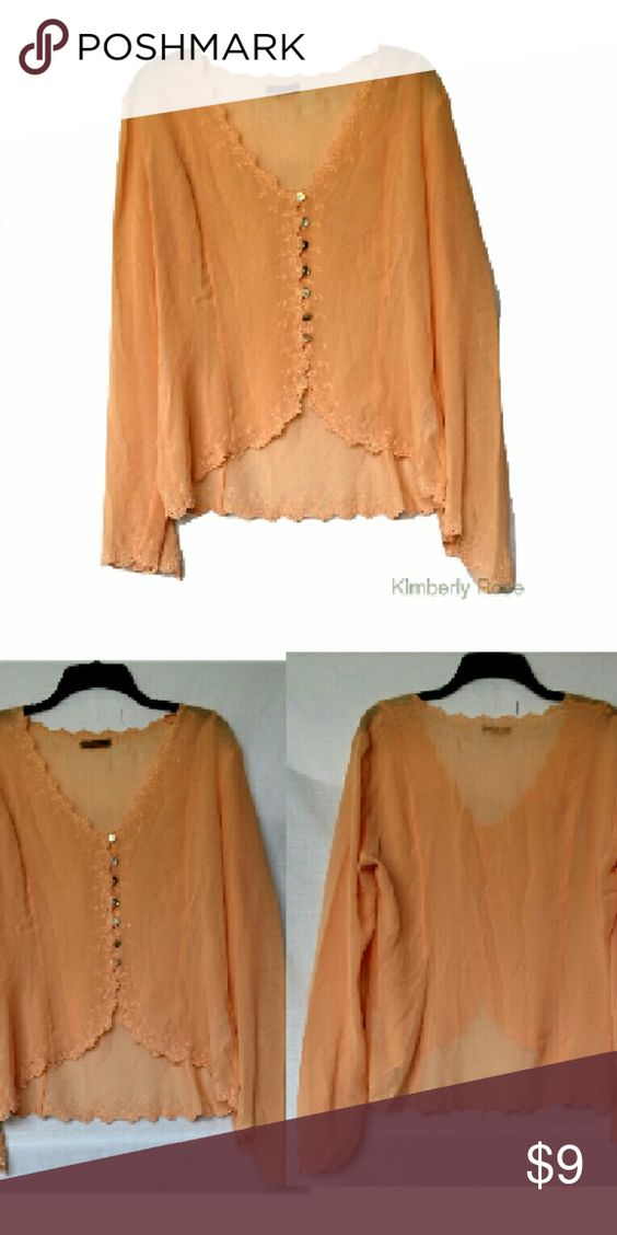 H&M Sheer Peach blouse Peach Chiffon Blouse. Eyelet accent sleeves, hem, and neckline. Button down. Silk. Size L. B 38 L 25 inches. EUC H&M Tops