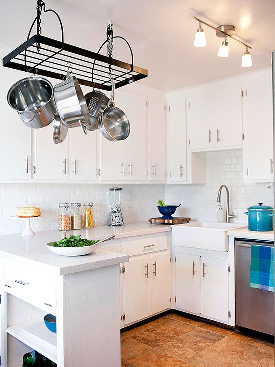 Beautiful a month and pot racks on pinterest for Cheap kitchen makeover ideas uk