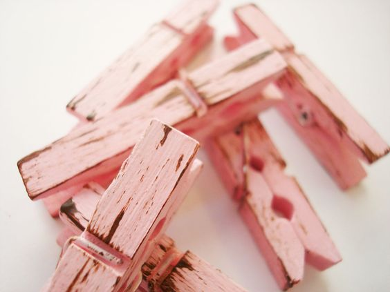 Tea Rose & Chocolate (Pink/Brown) Distressed Mini Clothes Pins - Shabby Chic 6 Pack. $5.94, via Etsy.