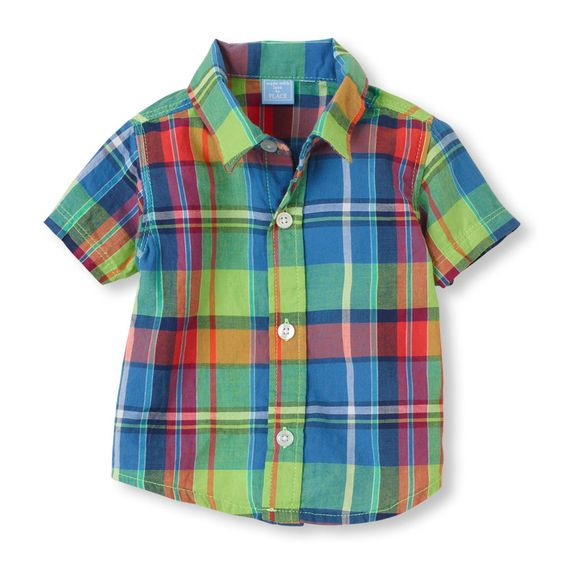 The Children's Place, Plaid Shirt, Vivid Green