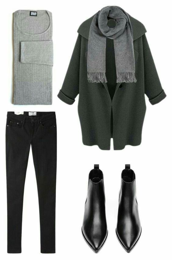 gray sweater, black pants, black booties, dark green coat, gray scarf