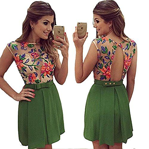 LUKYCILD Women Sleeveless Summer Floral Beach Party Mini Dress -- Want to know more, click on the image.