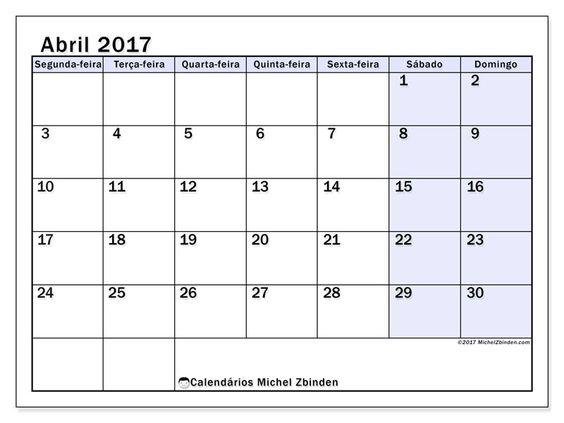 abril 2017para imprimir, livre. Calendário mensal : Auxilius (Sf). A semana começa na segunda-feira