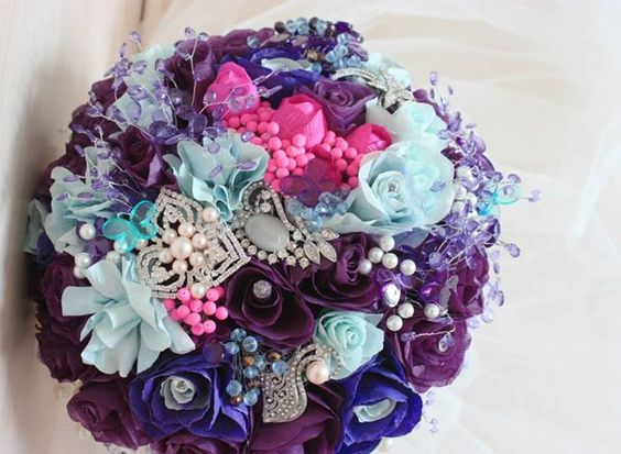 Paper flower bouquet by Simona Opris. Custom-made, one of a kind, hand-painted paper flowers with broaches and jewelry accessories!
