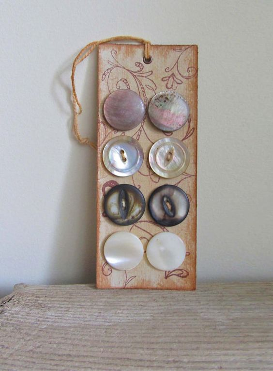 Vintage Mother of Pearl Buttons on Handmade Card by cattales, $6.00