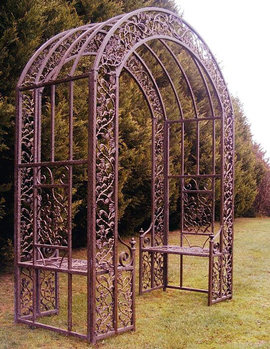 Wrought Iron Round Top Arbor Garden Arch With Images Garden