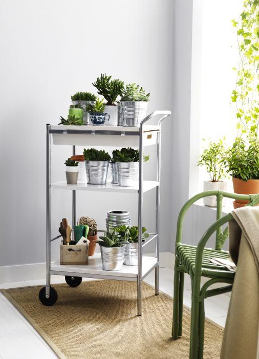 Keuken Bijzettafel Ikea : BYGEL roltafel #IKEA #keuken #groen #planten #trolley #bijzettafel