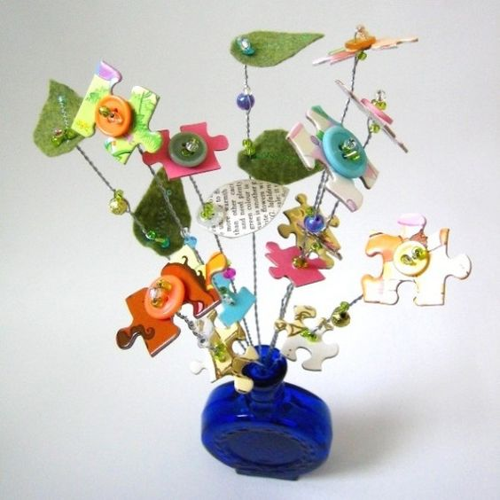 Repurposed Button and Puzzle Piece Bouquet by tracyBdesigns