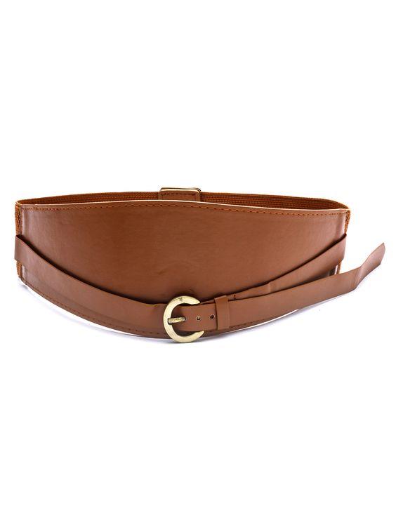 Cinturón de cuero hebilla ancho-(Sheinside)