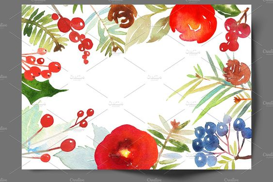 Christmas set of watercolors by ArtStore on @creativemarket