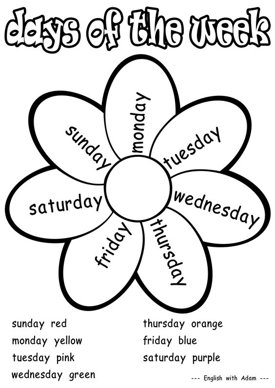 Days of the week coloring activity grade 1 | Teaching ESL ...