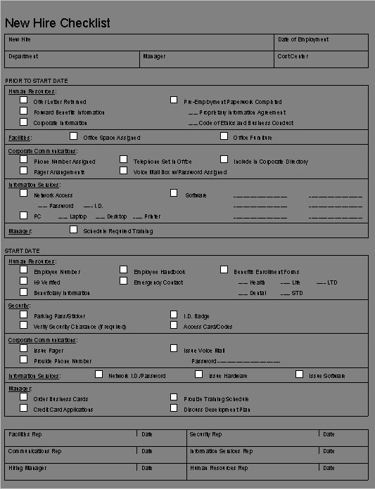 New Employee File Checklist Template Inquire before your hire ...