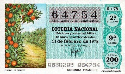 Décimo Del Sorteo Especial De Lotería De San Valentin Celebrado El 11 De Febrero De 1978 Coleccionismo Loteria Lotería Nacional Lotería Sorteo Especial