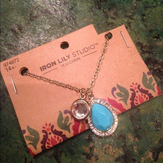 """Turquoise Tear Drop w/ Crystal Pendant & Necklace BRAND NEW Turquoise Tear Drop Pendant w/ Crystal and Necklace. 16"""" gold tone chain. Lead and nickel free. Several available. IN STOCK Jewelry Necklaces"""