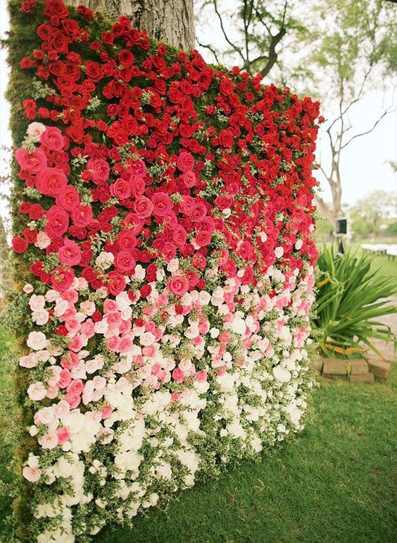 All ombre fans will love this beautiful floral wedding backdrop, completely covered in fresh roses. Roses come in all different shades, making them the ideal flower for this trendy look.