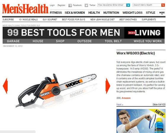 "Men's Health named the WORX 16"" Electric Chainsaw to its list of ""99 Best Tools for Men."" The WORX Chainsaw features a patented auto-tensioning system."