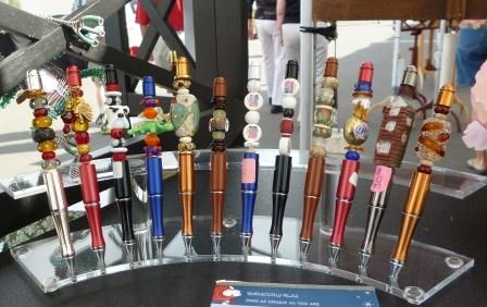 Artist: Gail Clark, All of the pens are 6in long, made from an all metal pen. The pens come pre striped for the beading. The main bead are hand made in the US. I start with the focal bead and work from there. These are samples of the styles I do for men. Because each pen is made individual, I never make the same pen twice.  #artsintheheart