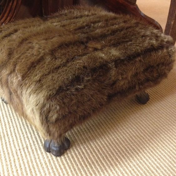 Old footstool professionally reupholstered in vintage mink www.stuffintheburbs.com
