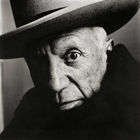 A black and white portrait of artist Pablo Picasso by Irving Penn
