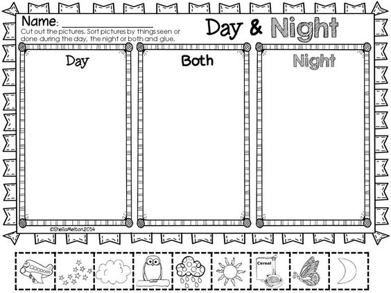 Day And Night Objects In The Sky Night Activities And