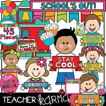 Last Day of School Clipart BUNDLE | Paper, End of and Summer